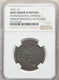 1810 1C Large Cent -- Mirror Brockage on Reverse, Environmental Damage -- NGC Details. VF