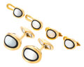 Estate Jewelry:Cufflinks, Mother-of-Pearl, Onyx, Gold Dress Set. ... (Total: 5 Items)