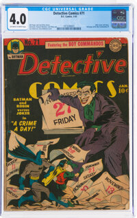Detective Comics #71 (DC, 1943) CGC VG 4.0 Off-white to white pages
