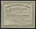 National Bank Notes:Maine, Skowhegan, ME - Stock Certificate Nine Shares The First ...