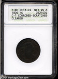 1800 1/2 C VG8--Brown, Corroded, Scratched, Cleaned--ANACS, Fine Details C-1....(PCGS# 1051)