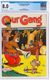 Our Gang Comics #8 (Dell, 1943) CGC VF 8.0 Off-white to white pages
