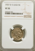 Buffalo Nickels, 1937-D 5C Three-Legged, FS-901, VF35 NGC. NGC Census: (264/5516). PCGS Population: (11/91). VF35. Mintage 17,826,000. ...