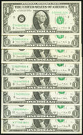 Small Size:Federal Reserve Notes, Four Digit Serial Numbers 00006152, 00006153, 00006635 Fr. 1907-C $1 1969D Federal Reserve Note. Choice Crisp Uncirculated (3)... (Total: 8 notes)