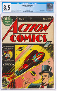 Action Comics #12 (DC, 1939) CGC VG- 3.5 Cream to off-white pages