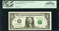 Error Notes:Inking Errors, Solid Star in Right Serial Number Error Fr. 1934-F* $1 2009 Federal Reserve Star Note. PCGS Gem New 65PPQ.. ...