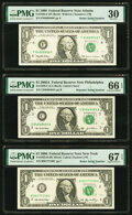 Small Size:Federal Reserve Notes, Radar 84888848 Fr. 1925-F $1 1999 Federal Reserve Note. PMG Very Fine 30;. Repeater 94649464 Fr. 1930-C $1 2003A Federal R... (Total: 3 notes)