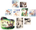 Animation Art:Production Drawing, Walt Disney's Treasury: 21 Best-Loved Stories Bambi Pages 36-39 Illustrations Original Art Group of 9 (Walt Disney, 19... (Total: 11 Items)