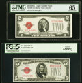 Small Size:Legal Tender Notes, Fr. 1508 $2 1928G Legal Tender Note. PMG Gem Uncirculated 65 EPQ;. Fr. 1525 $5 1928 Legal Tender Note. PCGS Gem New 65PPQ.... (Total: 2 notes)