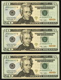 Small Size:Federal Reserve Notes, Four Digit Serial Number 3777; 4777; 5777 Fr. 2095-H $20 2009 Federal Reserve Note. Three Examples Choice Crisp Uncirculated.... (Total: 3 notes)
