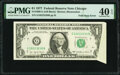 Error Notes:Foldovers, Foldover Error Fr. 1909-G $1 1977 Federal Reserve Note. PMG Extremely Fine 40 EPQ.. ...