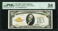Small Size:Gold Certificates, Fr. 2400 $10 1928 Gold Certificate. PMG Choice About Unc 58.. ...