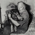 Photographs, Roger Ballen (American, 1950). Brian with Pet Pig, 1998. Toned gelatin silver, printed 2002. 14-1/4 ...