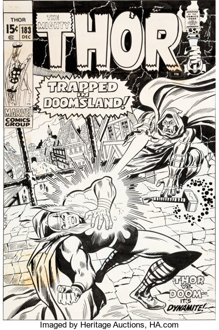 John Buscema and John Verpoorten Thor #183 Cover Original Art (Marvel, 1970)....