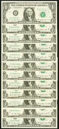 Complete District Set Fr. 1909-A*-L* $1 1977 Federal Reserve Star Notes. Twelve Examples. Choice Crisp Uncirculated...