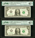 Repeater 00250025 Fr. 1930-B $1 2003A Federal Reserve Note. PMG Superb Gem Unc 67 EPQ; Radar 02622620 Fr. 1930-C $1 2003...