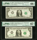 Radar 96777769 Fr. 1901-C $1 1963A Federal Reserve Note. PMG Gem Uncirculated 66 EPQ. Radar 95577559 Fr. 1930-C $1 2003A...