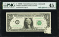 Error Notes:Miscellaneous Errors, Paper Jam Error Fr. 1905-D $1 1969B Federal Reserve Note. PMG Choice Extremely Fine 45.. ...