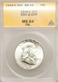 1948-D 50C Doubled Die Obverse & Doubled Die Reverse, FS-801, MS64 Full Bell Lines ANACS. This lot will also include...