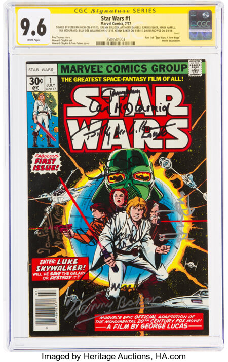 Star Wars #1 Signature Series (Marvel, 1977) CGC NM+ 9.6 White pages....
