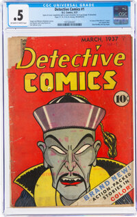 Detective Comics #1 Incomplete (DC, 1937) CGC PR 0.5 Off-white to white pages