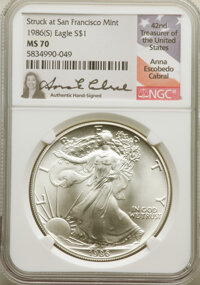 1986-(S) $1 Silver Eagle -- Struck at San Francisco Mint -- MS70 NGC. Anna Escobedo Cabral Signature holder. A flawless...