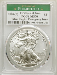 (5) 2020-(P) $1 Silver Eagles, Emergency Issue Struck at Philadelphia, First Day of Issue MS70 PCGS. PCGS Population: (3...