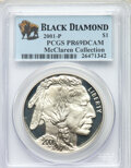 Modern Commemoratives, 2001-P $1 Buffalo Silver Dollar PR69 Deep Cameo PCGS. Ex: McClaren Collection. PCGS Population: (19043/2229). NGC Census: (...