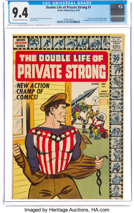 The Double Life of Private Strong #1 (Archie, 1959) CGC NM 9.4 Off-white to white pages....