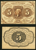 Fr. 1231SP 5¢ First Issue Narrow Margin Pair Choice New. ... (Total: 2 notes)
