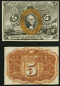 Fr. 1232SP 5¢ Second Issue Narrow Margin Specimen Pair New or Better. ... (Total: 2 notes)