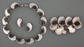Jewelry, Antonio Pineda (Mexican, 1919-2009). Jewelry Suite, circa 1960. Silver, onyx. 1 x 13-1/2 inches (2.5 x 34.3 cm) (necklac... (Total: 4 Items)