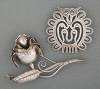 Hector Aguilar (Mexican, 1905-1979) Two Brooches, circa 1940 Silver 3-3/4 x 3 inches (9.5 x 7.6 c... (Total: 2)