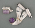 Jewelry, William Spratling (1900-1967). Two Brooches, circa 1945. Silver, amethyst. 3-1/2 x 3-1/4 inches (8.9 x 8.3 cm) (larger)... (Total: 2 Items)