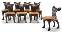 Jordan Mozer (American, 1950) Set of Eight Hoodie Dining Chairs, circa 2010 Lacquered fiberglass, le... (Total: 8)