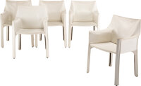 Mario Bellini (Italian, b. 1935) Set of Five Cab Chairs, designed 1976 White leather 31-1/2 x 22 ... (Total: 5)