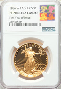 1986-W G$50 One-Ounce Gold Eagle, First Year of Issue PR70 Ultra Cameo NGC. NGC Census: (3833). PCGS Population: (674)...