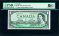 """Canada Bank of Canada $1 1954 BC-29b """"Devil's Face"""" PMG Gem Uncirculated 66 EPQ"""