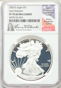 2020-S $1 Silver Eagle, First Day of Issue, PR70 Ultra Cameo NGC. NGC Census: (0). PCGS Population: (3294). ...(PCGS# 83...