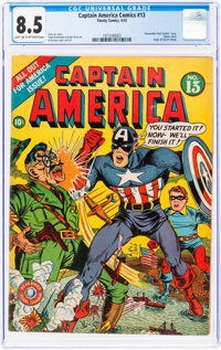 Captain America Comics #13 (Timely, 1942) CGC VF+ 8.5 Light tan to off-white pages