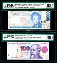 Argentina Banco Central 100 Pesos ND (1992) Pick 345a PMG Gem Uncirculated 66 EPQ; Costa Rica Banco Central de Cost... (...