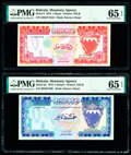 World Currency, Bahrain Monetary Agency 1; 5 Dinars 1973 Pick 8; 8A Two examples PMG Gem Uncirculated 65 EPQ (2).. ... (Total: 2 notes)