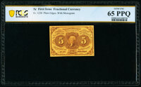 Fr. 1230 5¢ First Issue PCGS Banknote Gem Unc 65 PPQ