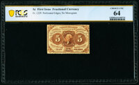 Fr. 1229 5¢ First Issue PCGS Banknote Choice Unc 64