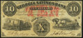 Obsoletes By State:Georgia, Macon, GA- Georgia Savings Bank $10 June 15, 1863 Fine-Very Fine.. ...