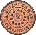 Civil War Merchants, 1863 Token H. A. Ratterman, Cincinnati, OH., Fuld-165EQ-3a, MS66 Red and Brown NGC. Satiny luster is almost entirely red ac...