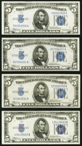 Small Size:Silver Certificates, Fr. 1650 $5 1934 Silver Certificate. Two Examples Extremely Fine;. Fr. 1651 $5 1934A Silver Certificate. Extremely Fine;... (Total: 4 notes)