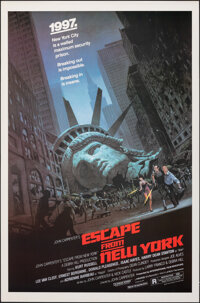 "Escape from New York (Avco Embassy, 1981). Rolled, Very Fine+. One Sheet (27"" X 41"") Barry Jackson Artwork. Sc..."