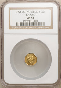1853 $1 Liberty Octagonal 1 Dollar, BG-523, R.5, MS61 NGC. NGC Census: (1/2). PCGS Population: (3/5). From The Gibne...(...
