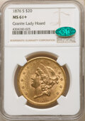1876-S $20 MS61+ NGC. CAC. Ex: Granite Lady Hoard. NGC Census: (1292/580 and 24/20+). PCGS Population: (1689/931 and 0/3...